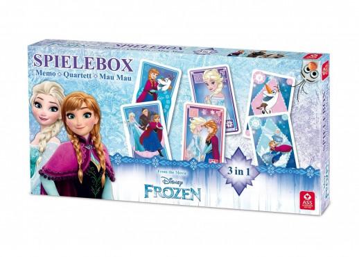 Spielebox Disney Frozen / Memo, Mau Mau, Quartett