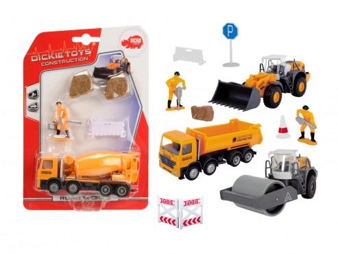 DICKIE Road Works, Baufahrzeuge / auf Blisterkarte mit Zub.,
