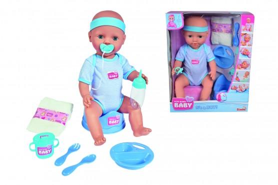 New Born Baby Puppe 43 cm / Junge,Trink u. Nässfunkt./8-teil