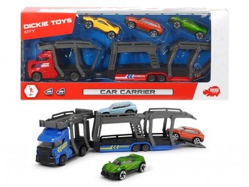 Car Carrier Autotransporter / mit 3 Autos/Freilauf/32 cm/sor